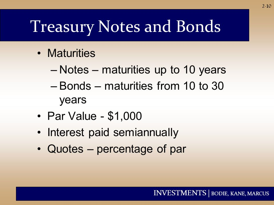 INVESTMENTS | BODIE, KANE, MARCUS 2-10 Treasury Notes and Bonds Maturities –Notes – maturities up to 10 years –Bonds – maturities from 10 to 30 years Par Value - $1,000 Interest paid semiannually Quotes – percentage of par