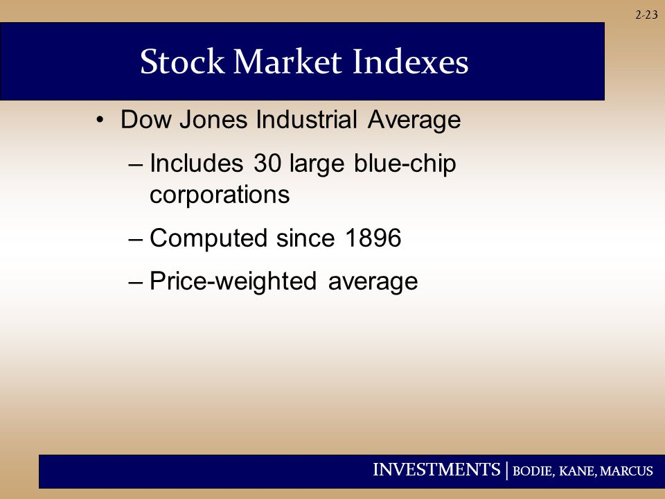 INVESTMENTS | BODIE, KANE, MARCUS 2-23 Stock Market Indexes Dow Jones Industrial Average –Includes 30 large blue-chip corporations –Computed since 1896 –Price-weighted average