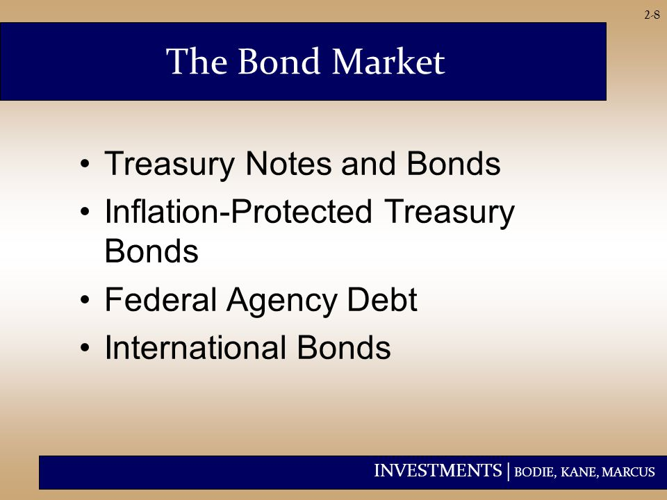 INVESTMENTS | BODIE, KANE, MARCUS 2-8 The Bond Market Treasury Notes and Bonds Inflation-Protected Treasury Bonds Federal Agency Debt International Bonds