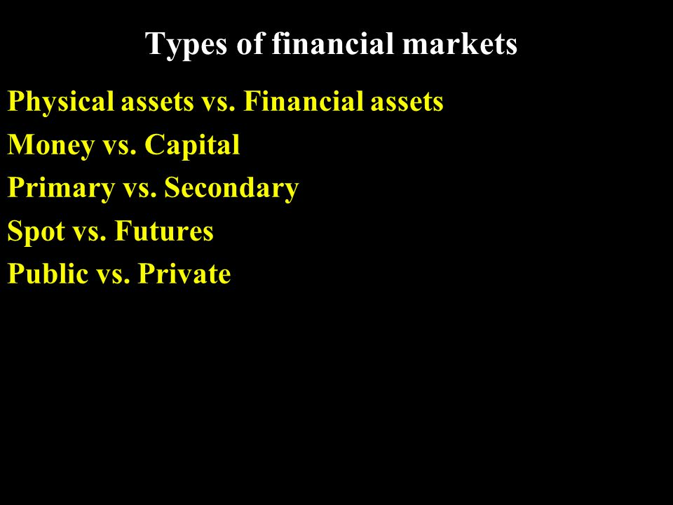 Types of financial markets Physical assets vs. Financial assets Money vs.