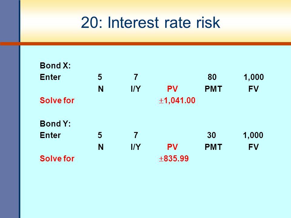 20: Interest rate risk Bond X: Enter 5 7 80 1,000 N I/Y PV PMT FV Solve for  1,041.00 Bond Y: Enter 5 7 30 1,000 N I/Y PV PMT FV Solve for  835.99
