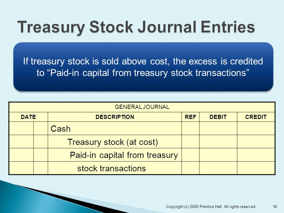 16 GENERAL JOURNAL DATEDESCRIPTIONREFDEBITCREDIT Cash Treasury stock (at cost) Paid-in capital from treasury stock transactions If treasury stock is sold above cost, the excess is credited to Paid-in capital from treasury stock transactions Copyright (c) 2009 Prentice Hall.