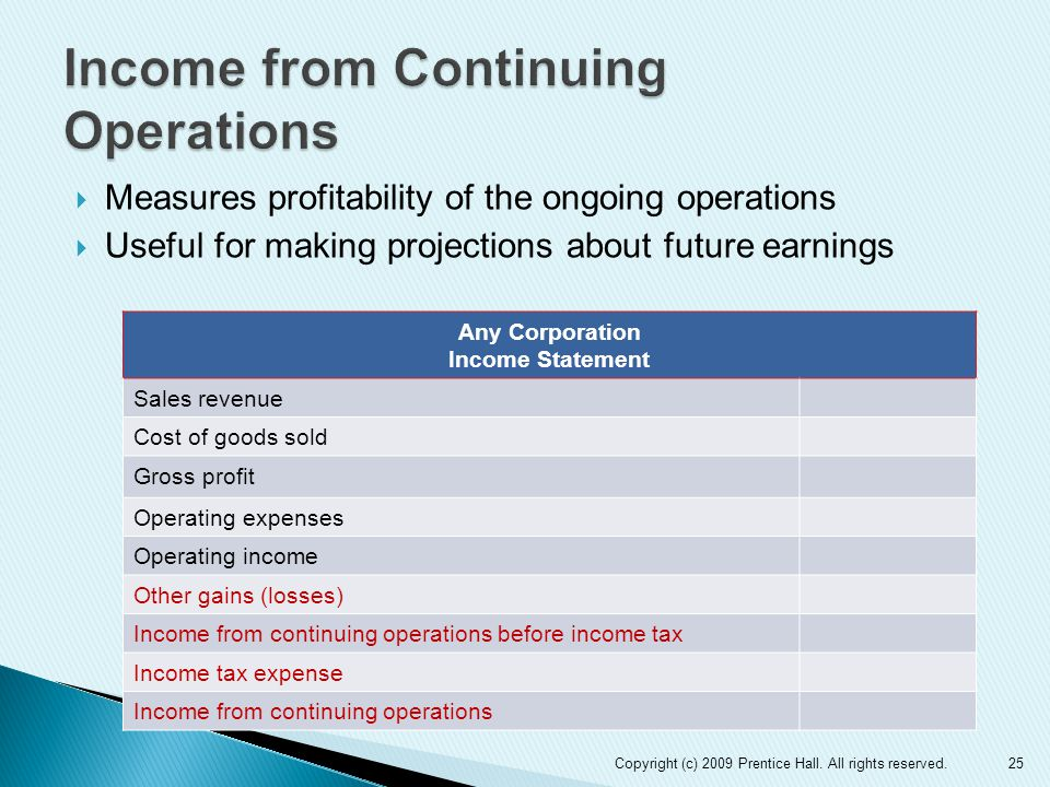  Measures profitability of the ongoing operations  Useful for making projections about future earnings 25 Any Corporation Income Statement Sales revenue Cost of goods sold Gross profit Operating expenses Operating income Other gains (losses) Income from continuing operations before income tax Income tax expense Income from continuing operations Copyright (c) 2009 Prentice Hall.