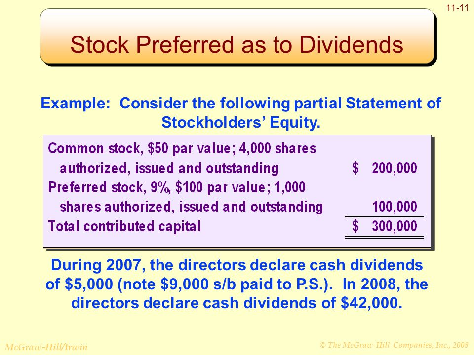 © The McGraw-Hill Companies, Inc., 2008 McGraw-Hill/Irwin 11-11 Example: Consider the following partial Statement of Stockholders' Equity. During 2007