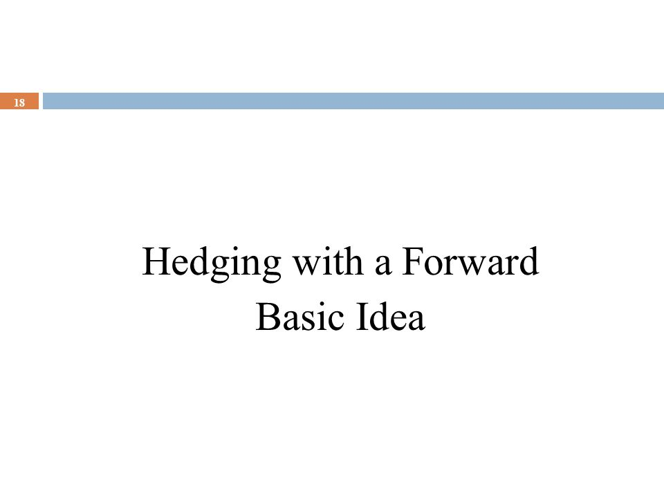 Hedging with a Forward Basic Idea 18