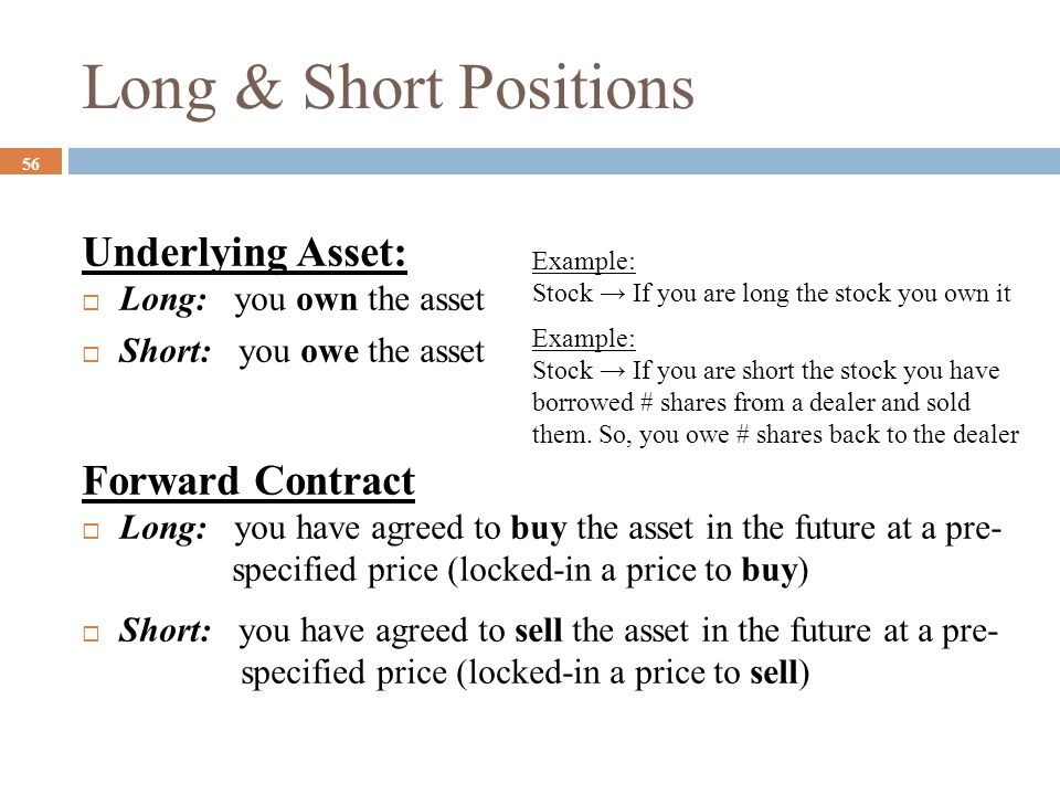 Long & Short Positions 56 Underlying Asset:  Long: you own the asset  Short: you owe the asset Forward Contract  Long: you have agreed to buy the a