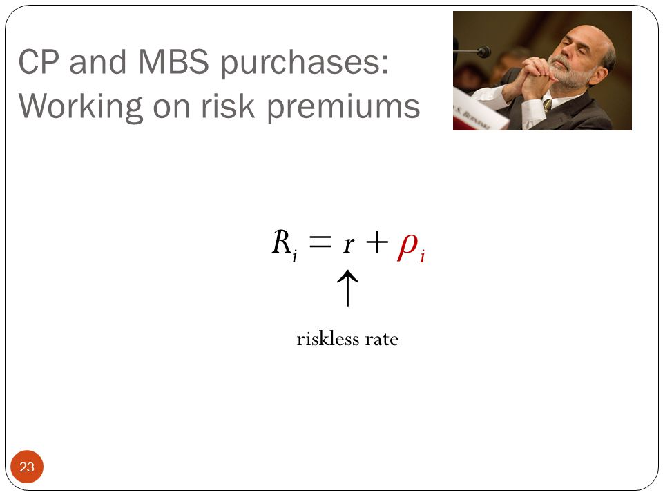 CP and MBS purchases: Working on risk premiums R i = r + ρ i  riskless rate 23