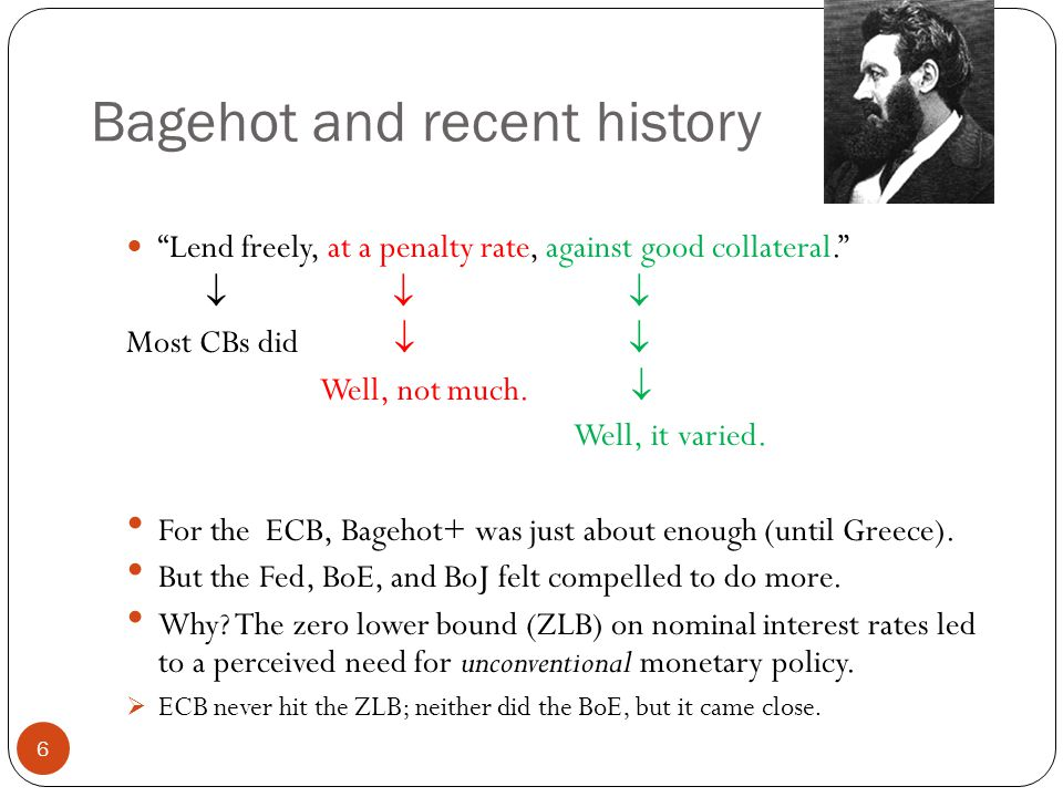 Bagehot and recent history Lend freely, at a penalty rate, against good collateral.    Most CBs did   Well, not much.