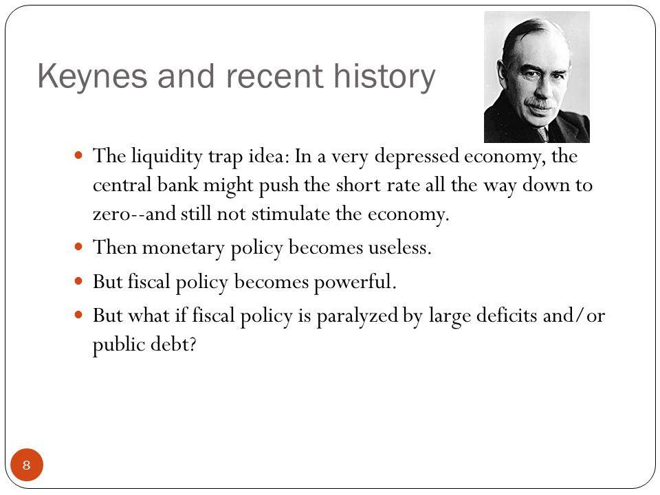 Keynes and recent history The liquidity trap idea: In a very depressed economy, the central bank might push the short rate all the way down to zero--and still not stimulate the economy.