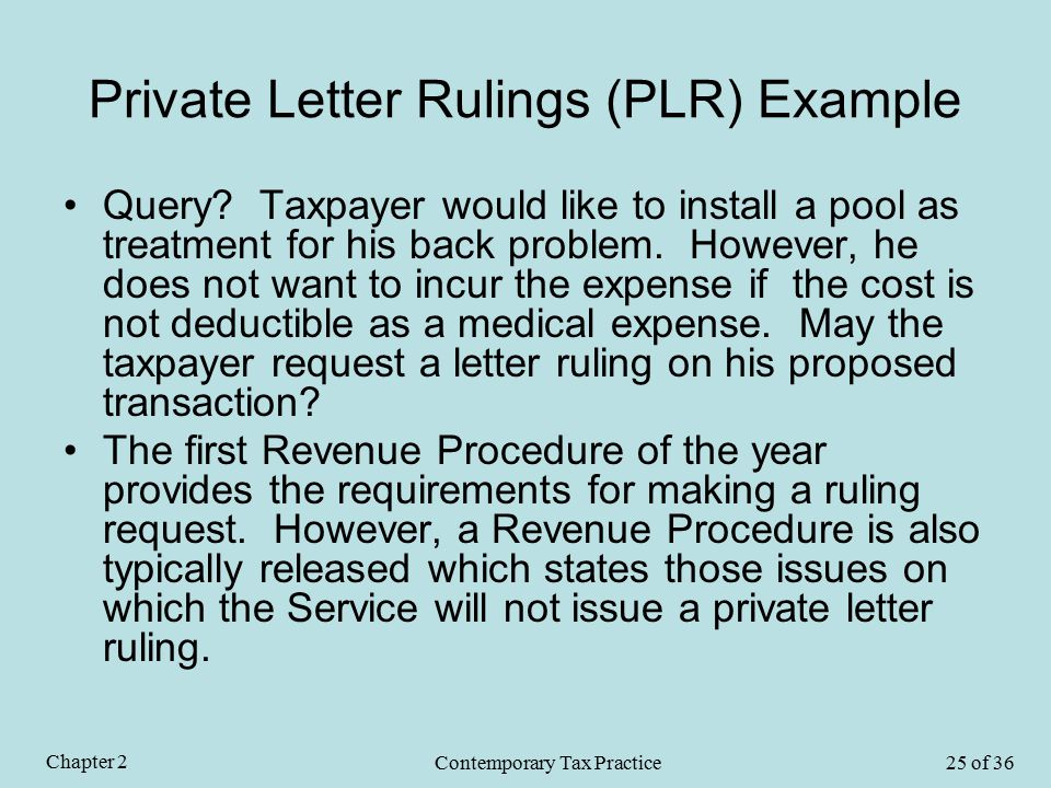 Private Letter Rulings (PLR) Example Query.