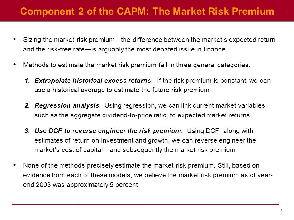 7 Component 2 of the CAPM: The Market Risk Premium Sizing the market risk premium—the difference between the market's expected return and the risk-fre
