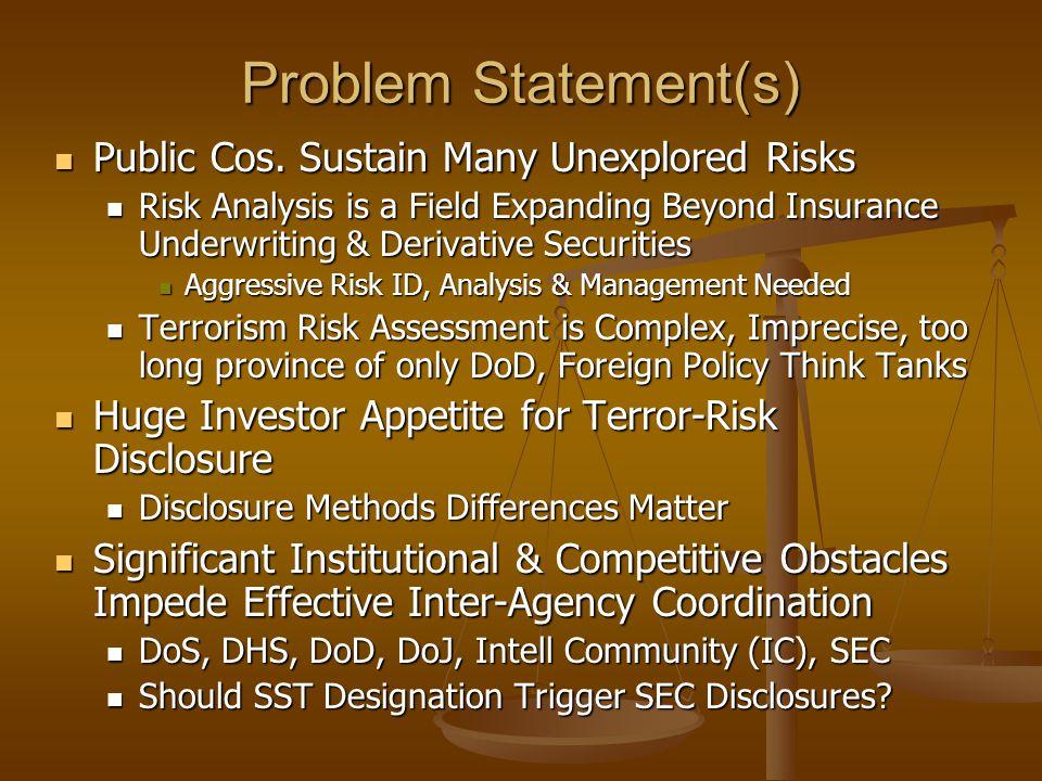 Problem Statement(s) Public Cos. Sustain Many Unexplored Risks Public Cos.