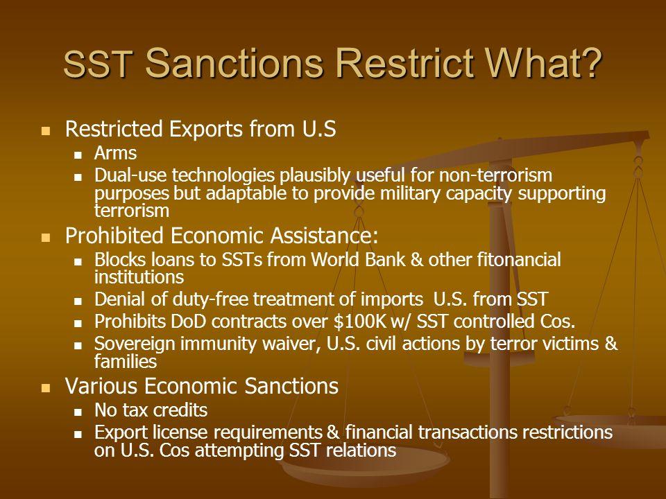 SST Sanctions Restrict What.
