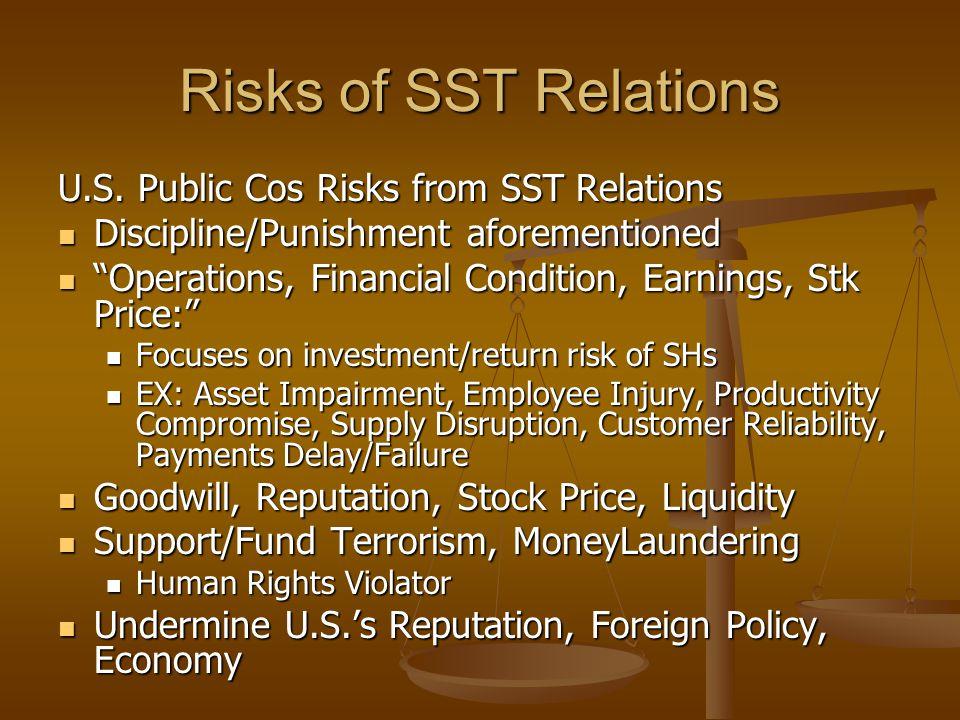 Risks of SST Relations U.S.