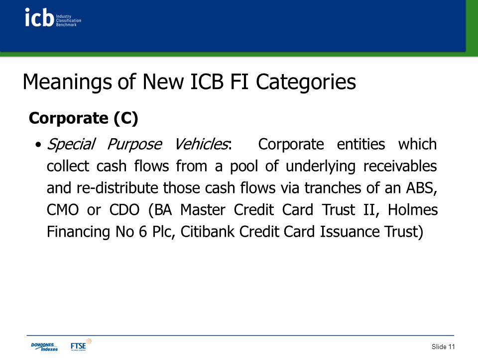 Slide 11 Meanings of New ICB FI Categories Corporate (C) Special Purpose Vehicles: Corporate entities which collect cash flows from a pool of underlying receivables and re-distribute those cash flows via tranches of an ABS, CMO or CDO (BA Master Credit Card Trust II, Holmes Financing No 6 Plc, Citibank Credit Card Issuance Trust)