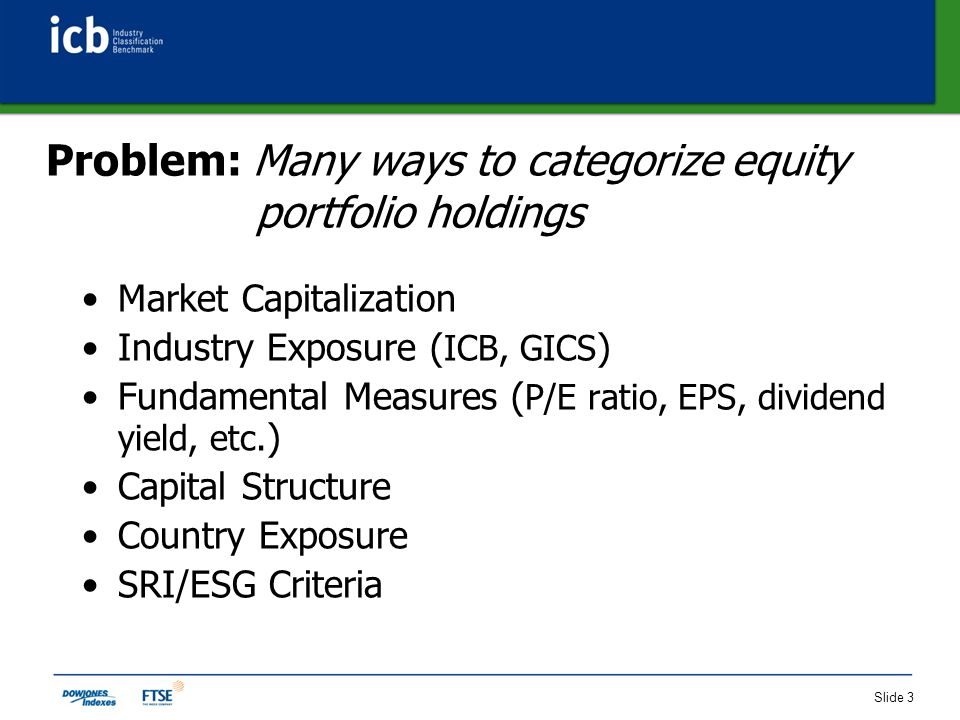 Slide 3 Problem: Many ways to categorize equity portfolio holdings Market Capitalization Industry Exposure ( ICB, GICS ) Fundamental Measures ( P/E ratio, EPS, dividend yield, etc.
