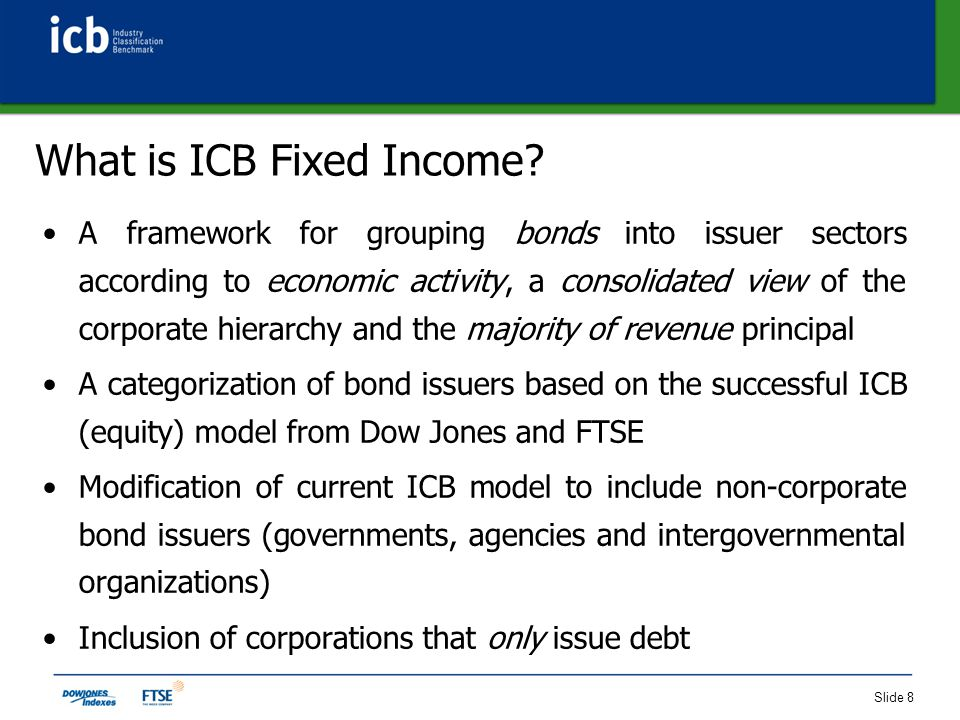 Slide 9 The ICB Fixed Income Model Issuer TypeIndustry CodeSuperSectorSectorSubSector Corporate (C) 0001 - Oil & Gas Current ICB Product Codes (0533 - 9578) Current ICB Product Codes (0533 - 9578) Current ICB Product Codes (0533 - 9578) 1000 - Basic Materials 2000 - Industrials 3000 - Consumer Goods 4000 - Health Care 5000 - Consumer Services 6000 - Telecommunications 7000 - Utilities 8000 - Financials 9000 - Technology 10000 - Special Purpose Vehicles 11000 to 14000 - Reserved for Future Use Reserved for Future Use Sovereign (S)15000 - Government 15100 - Nation/Treasury 15300 - Canton/Region/Province/State 15500 - City/Municipality/Town Sub-Sovereign (B) 16000 - Agency/Semi- Government Supranational (P) 17000 - Intergovernmental/Supranational Organizations 17100 - UN Organization 17200 - Supranational Organization