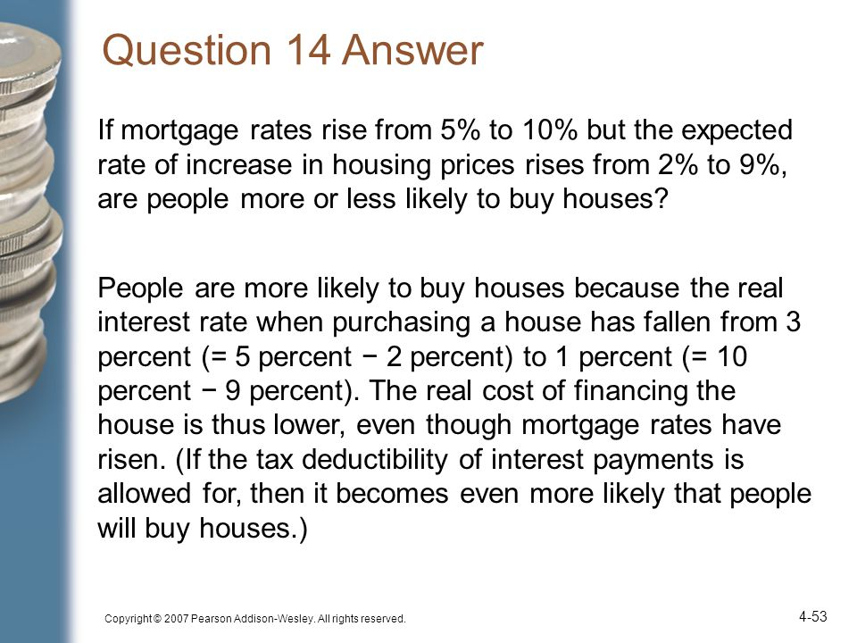 Question 14 Answer If mortgage rates rise from 5% to 10% but the expected rate of increase in housing prices rises from 2% to 9%, are people more or less likely to buy houses.