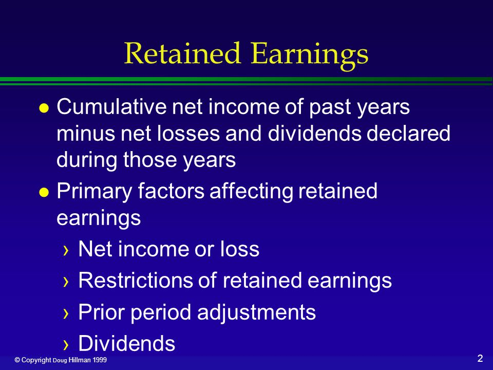 13 © Copyright Doug Hillman 1999 Large Stock Dividend l Date of declaration ›Increase Stock Dividends, a nominal account closed to Retained Earnings, for par value ›Increase Stock Dividends to be Issued for par value l Stock Dividends to be Issued appears in paid-in capital
