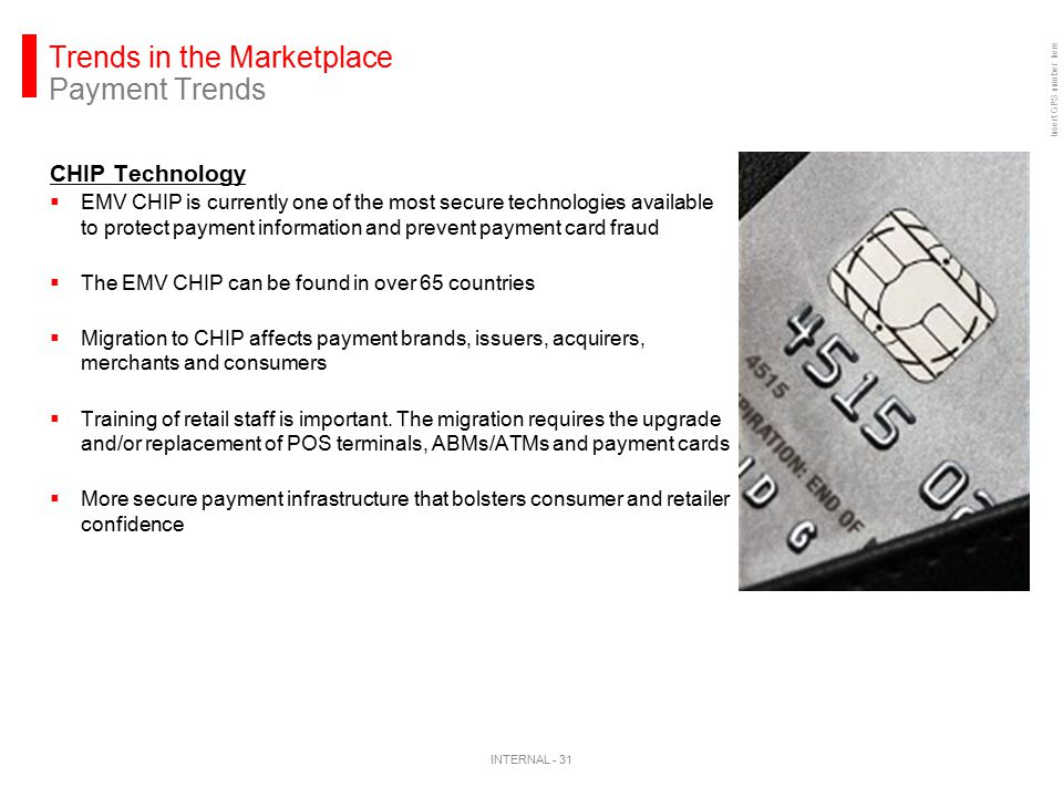 Insert GPS number here Trends in the Marketplace Payment Trends CHIP Technology  EMV CHIP is currently one of the most secure technologies available