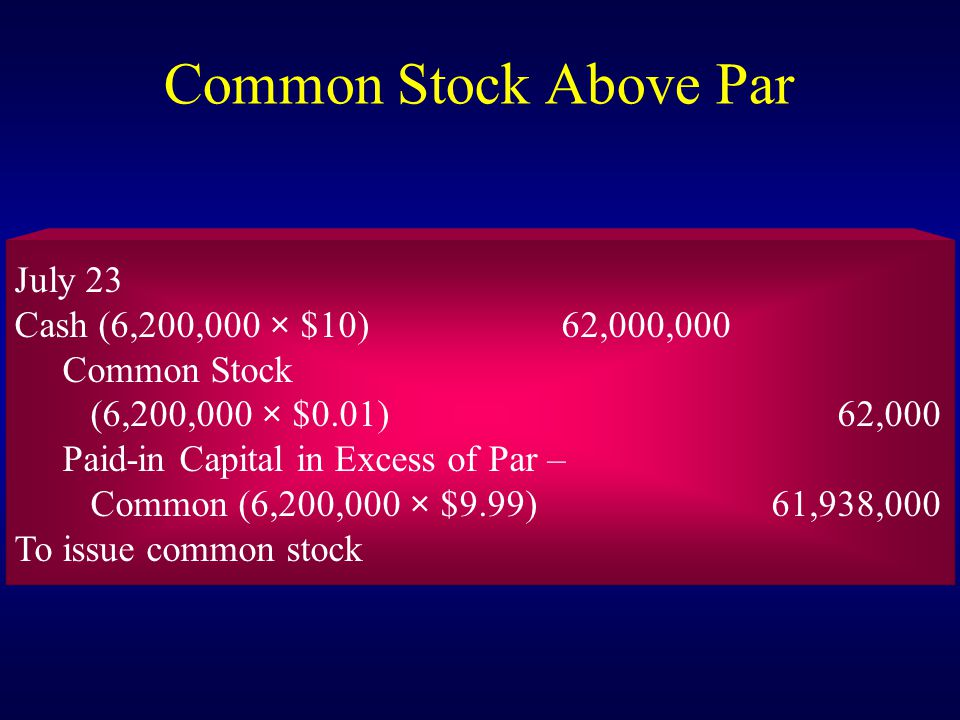 Common Stock Above Par July 23 Cash (6,200,000 × $10) 62,000,000 Common Stock (6,200,000 × $0.01) 62,000 Paid-in Capital in Excess of Par – Common (6,