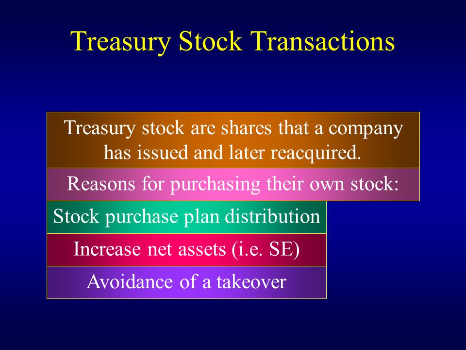 Treasury Stock Transactions Treasury stock are shares that a company has issued and later reacquired. Stock purchase plan distribution Increase net as