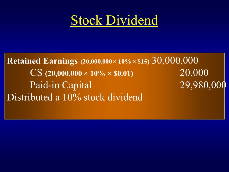 Stock Dividend Retained Earnings (20,000,000 × 10% × $15) 30,000,000 CS (20,000,000 × 10% × $0.01) 20,000 Paid-in Capital29,980,000 Distributed a 10%