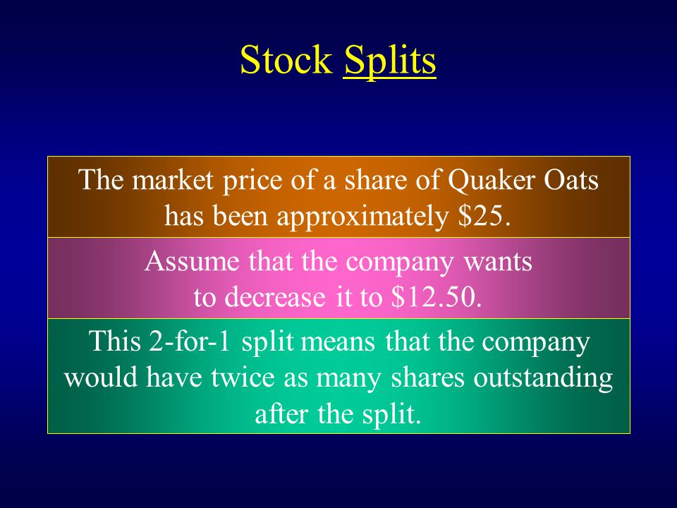 Stock Splits The market price of a share of Quaker Oats has been approximately $25. This 2-for-1 split means that the company would have twice as many