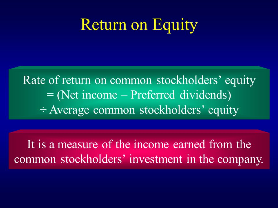 Return on Equity Rate of return on common stockholders' equity = (Net income – Preferred dividends) ÷ Average common stockholders' equity It is a meas