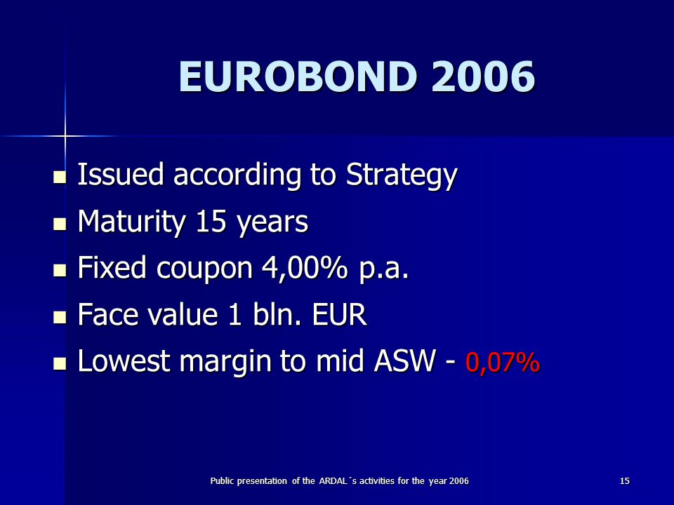 Public presentation of the ARDAL´s activities for the year 200615 EUROBOND 2006 Issued according to Strategy Issued according to Strategy Maturity 15 years Maturity 15 years Fixed coupon 4,00% p.a.