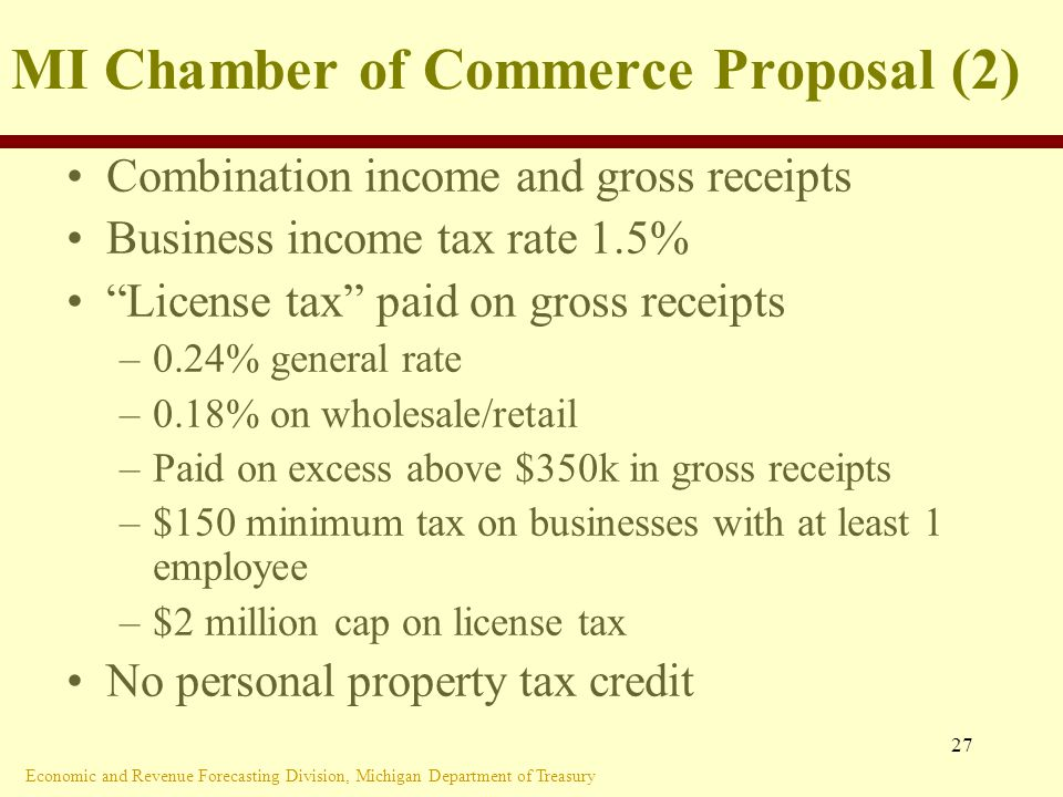 Economic and Revenue Forecasting Division, Michigan Department of Treasury 27 MI Chamber of Commerce Proposal (2) Combination income and gross receipts Business income tax rate 1.5% License tax paid on gross receipts –0.24% general rate –0.18% on wholesale/retail –Paid on excess above $350k in gross receipts –$150 minimum tax on businesses with at least 1 employee –$2 million cap on license tax No personal property tax credit