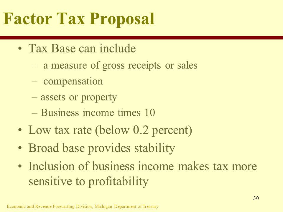 Economic and Revenue Forecasting Division, Michigan Department of Treasury 30 Factor Tax Proposal Tax Base can include – a measure of gross receipts or sales – compensation –assets or property –Business income times 10 Low tax rate (below 0.2 percent) Broad base provides stability Inclusion of business income makes tax more sensitive to profitability