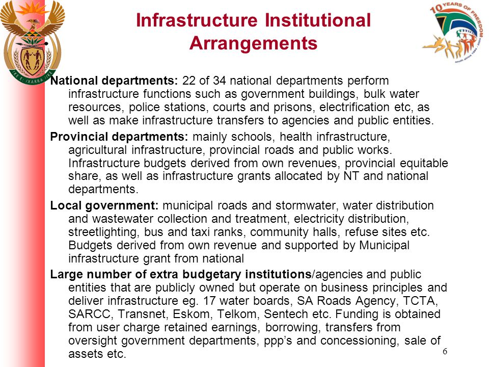 6 Infrastructure Institutional Arrangements National departments: 22 of 34 national departments perform infrastructure functions such as government buildings, bulk water resources, police stations, courts and prisons, electrification etc, as well as make infrastructure transfers to agencies and public entities.