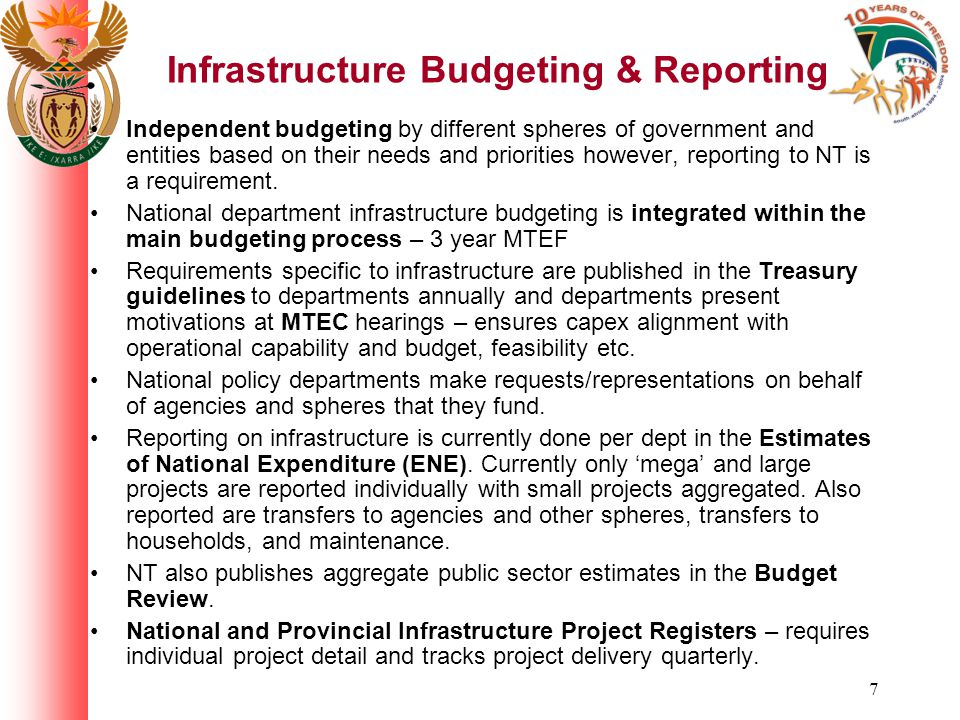 18 Focus on key infrastructure sectors (table under construction – not a complete breakdown)