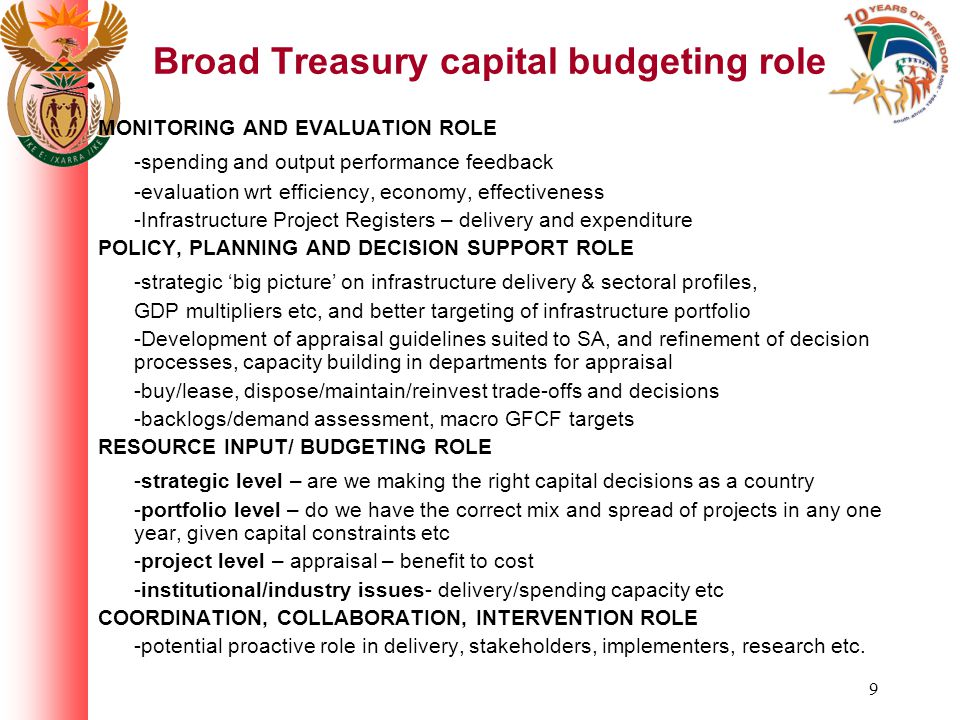 10 Capital Budgets Committee ROLE Initiated within the 2005 MTEC process MTEC sub-committee - Interdepartmental in nature, Treasury lead Act as a filter to the main budget process Undertake the review of individual capital/infrastructure project and programme bids made by departments to Treasury for funding Prioritisation and Selection of projects -capital rationing situation Make recommendations to MTEC, Mincombud Further role; develop and improve appraisal process in future COMPOSITION Major infrastructure 'oversight' departments, and the 'development' and grant distribution departments + the Presidency: Transport, DWAF, Housing, DPLG, Public Works, DTI, DME, Presidency, National Treasury (various sections)