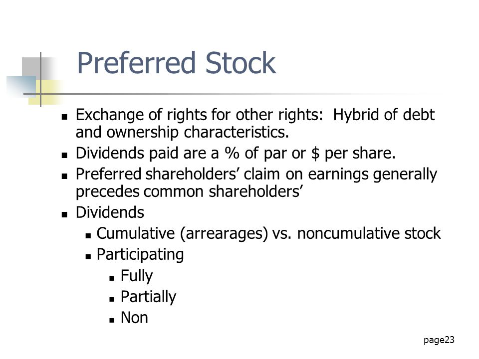 page23 Exchange of rights for other rights: Hybrid of debt and ownership characteristics. Dividends paid are a % of par or $ per share. Preferred shar