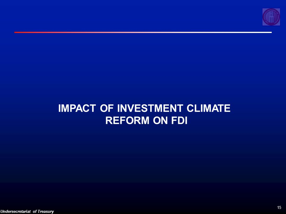 Undersecretariat of Treasury 15 IMPACT OF INVESTMENT CLIMATE REFORM ON FDI