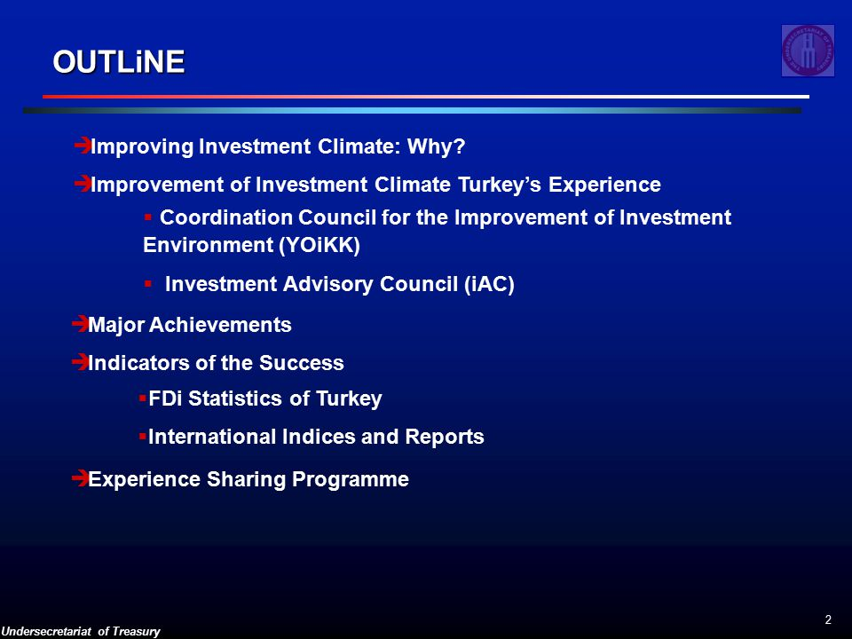 Undersecretariat of Treasury 2 OUTLiNE  Improving Investment Climate: Why.