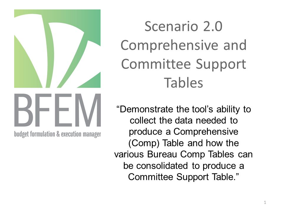 Scenario 2.0 Comprehensive and Committee Support Tables Demonstrate the tool's ability to collect the data needed to produce a Comprehensive (Comp) Table and how the various Bureau Comp Tables can be consolidated to produce a Committee Support Table. 1