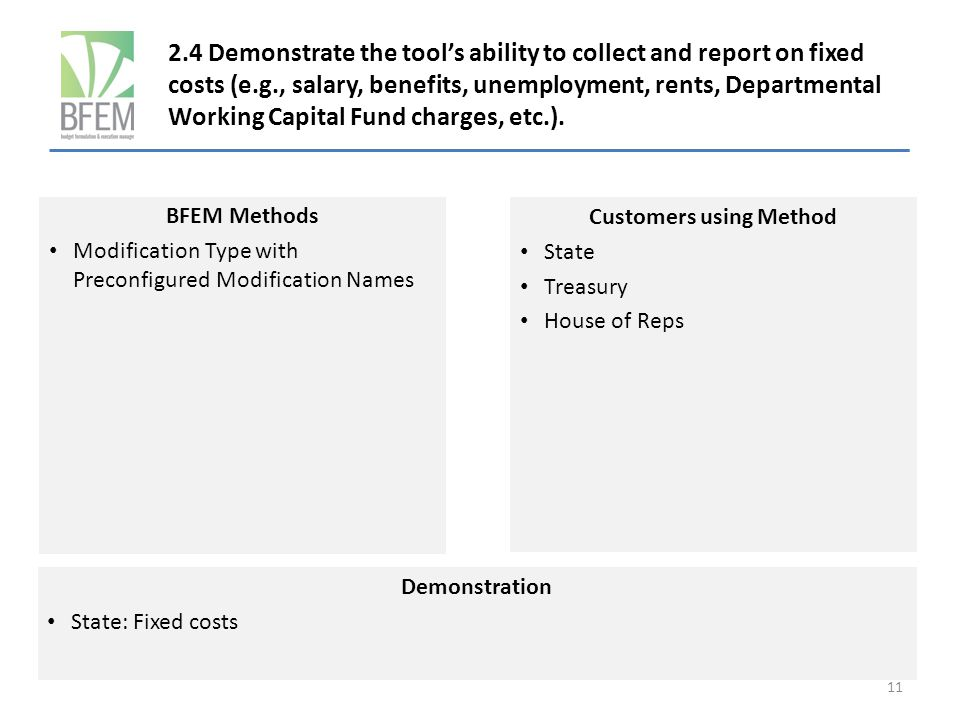 2.4 Demonstrate the tool's ability to collect and report on fixed costs (e.g., salary, benefits, unemployment, rents, Departmental Working Capital Fund charges, etc.).