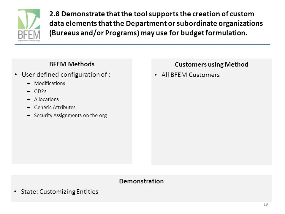 2.8 Demonstrate that the tool supports the creation of custom data elements that the Department or subordinate organizations (Bureaus and/or Programs) may use for budget formulation.
