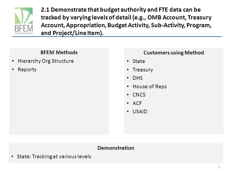 2.1 Demonstrate that budget authority and FTE data can be tracked by varying levels of detail (e.g., OMB Account, Treasury Account, Appropriation, Budget Activity, Sub-Activity, Program, and Project/Line Item).
