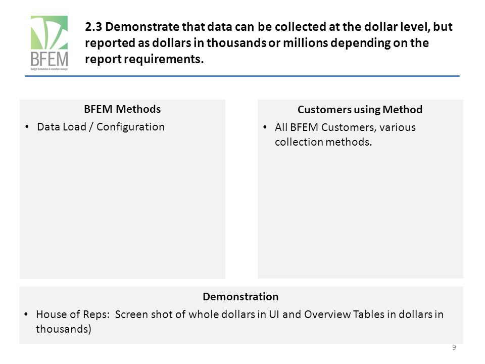 2.3 Demonstrate that data can be collected at the dollar level, but reported as dollars in thousands or millions depending on the report requirements.