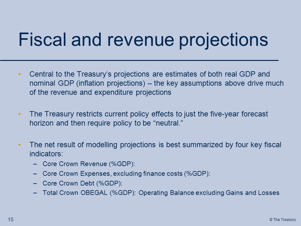 © The Treasury Fiscal and revenue projections Central to the Treasury's projections are estimates of both real GDP and nominal GDP (inflation projections) – the key assumptions above drive much of the revenue and expenditure projections The Treasury restricts current policy effects to just the five-year forecast horizon and then require policy to be neutral. The net result of modelling projections is best summarized by four key fiscal indicators: –Core Crown Revenue (%GDP): –Core Crown Expenses, excluding finance costs (%GDP): –Core Crown Debt (%GDP): –Total Crown OBEGAL (%GDP): Operating Balance excluding Gains and Losses 15