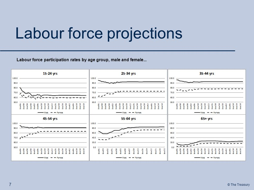 © The Treasury Labour force projections 7 Labour force participation rates by age group, male and female...