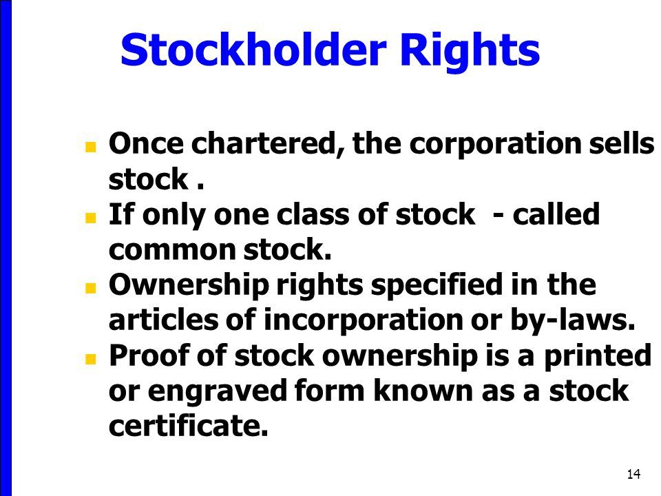 14 Stockholder Rights Once chartered, the corporation sells stock. If only one class of stock - called common stock. Ownership rights specified in the