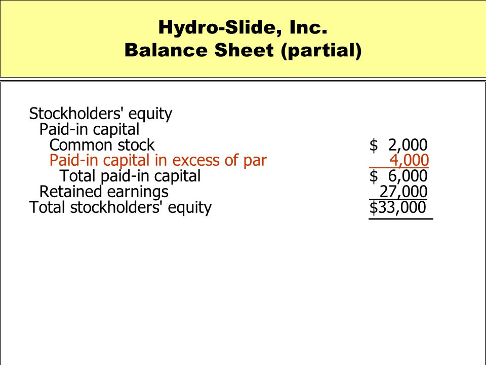 Stockholders' equity Paid-in capital Common stock $ 2,000 Paid-in capital in excess of par 4,000 Total paid-in capital $ 6,000 Retained earnings 27,00