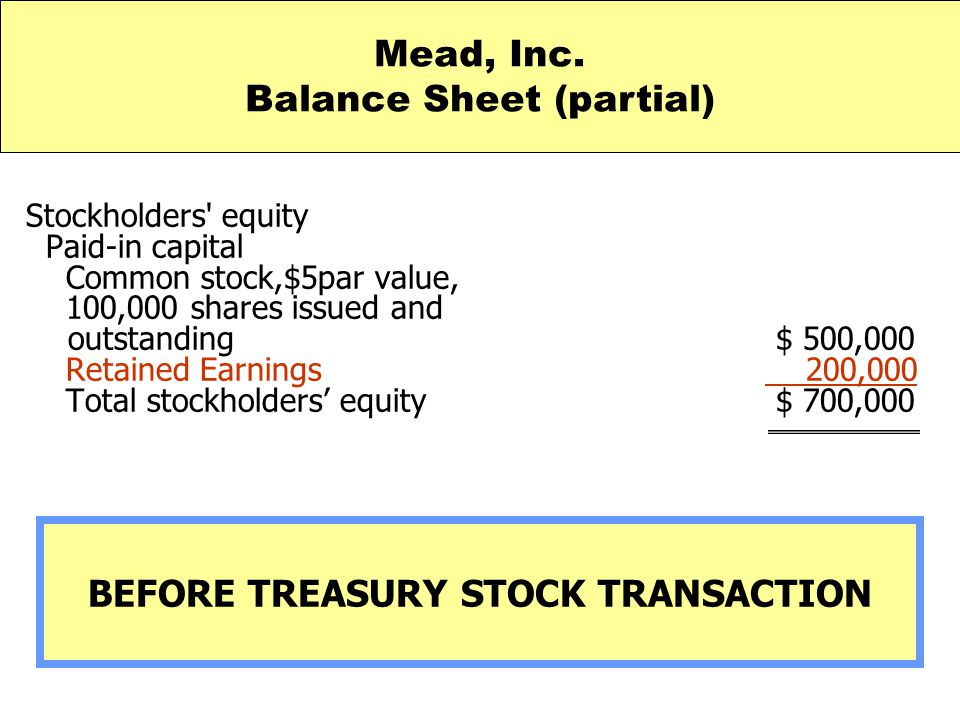 Stockholders' equity Paid-in capital Common stock,$5par value, 100,000 shares issued and outstanding $ 500,000 Retained Earnings 200,000 Total stockho