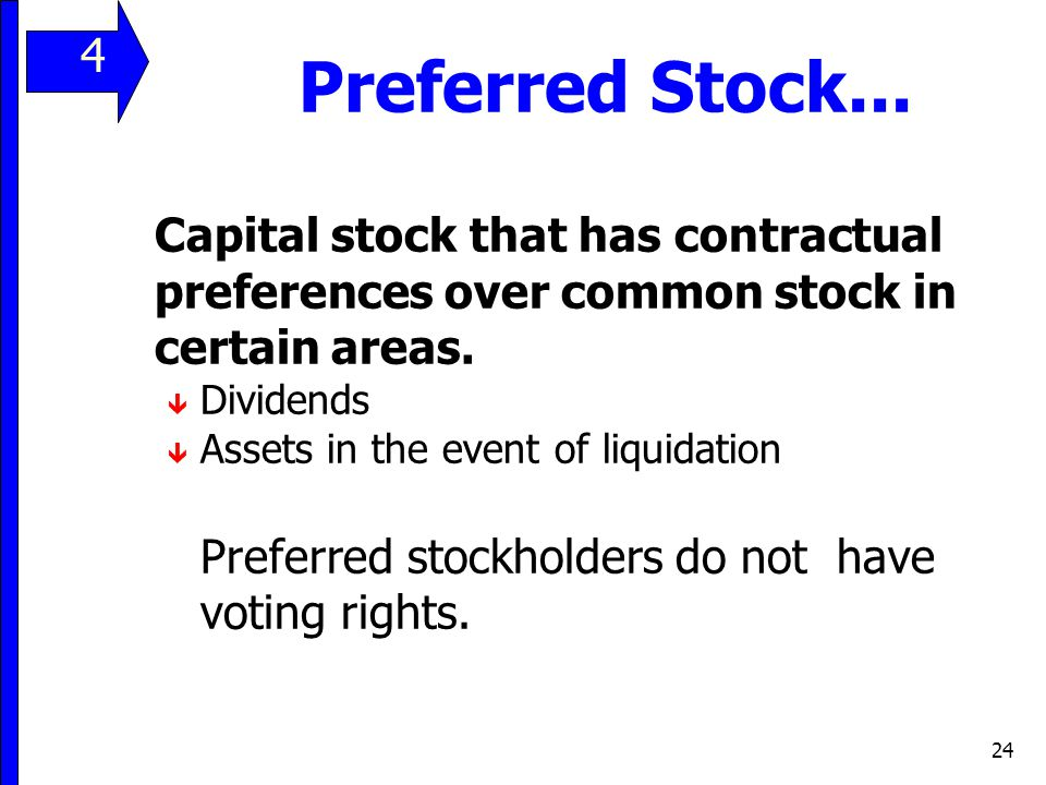 24 Preferred Stock... Capital stock that has contractual preferences over common stock in certain areas. ê Dividends ê Assets in the event of liquidat