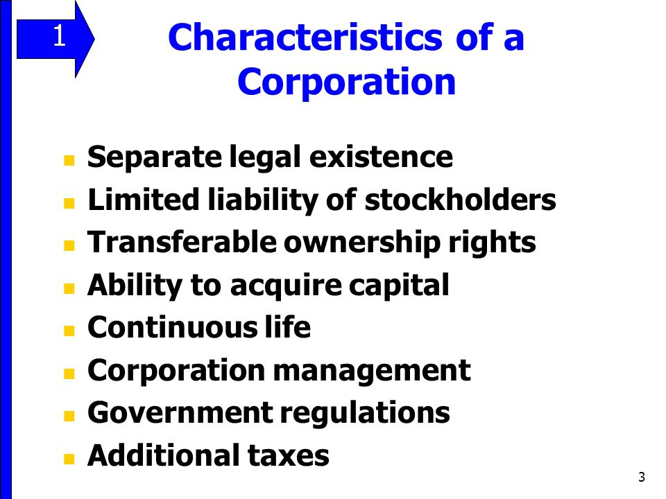 3 Separate legal existence Limited liability of stockholders Transferable ownership rights Ability to acquire capital Continuous life Corporation mana